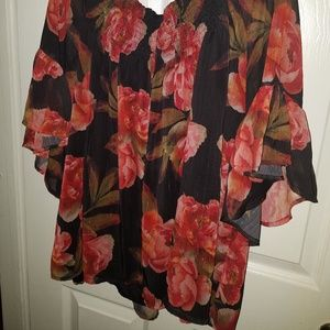 a.n.a Tops - ANA black and red rose blouse